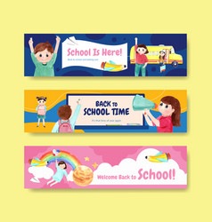 Back to school and education concept with banner vector