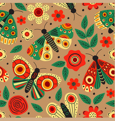basic rgbbrown seamless pattern with butterflies vector image
