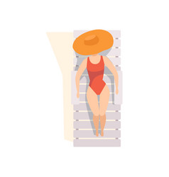beautiful young woman in straw hat and red vector image