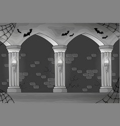Black and white haunted interior vector