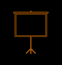 Blank projection screen orange icon on black vector