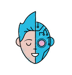 Boy head in interface connection system vector
