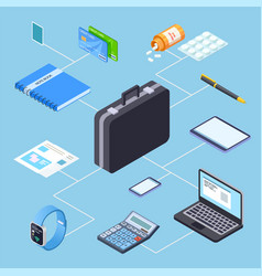 business person suitcase and its contents vector image