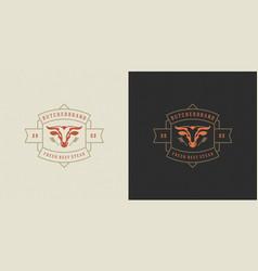 butcher shop logo bull head vector image