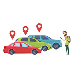 car sharing man looking for vehicle with vector image