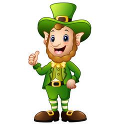 cartoon leprechaun giving thumbs up vector image
