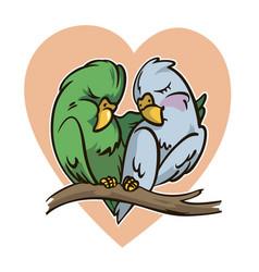 cartoon parrots in love vector image