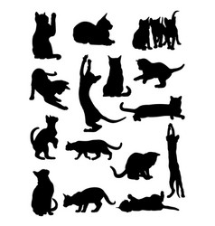 cats pose silhouette vector image