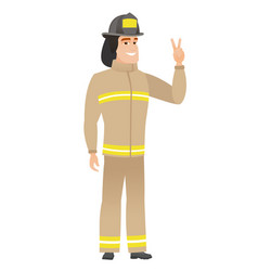 caucasian firefighter showing the victory gesture vector image