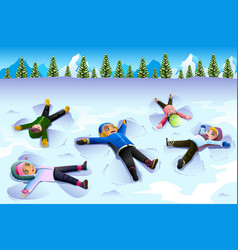 Children doing snow angel during the winter vector