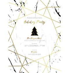 christmas party invitation black gold and white vector image