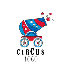 circus logo design emblem with cannon for vector image