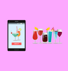 cocktails mobile application vector image