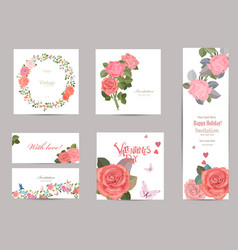 collection of greeting cards with blossom roses vector image