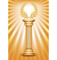 Column laurel gold vector