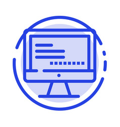 Computer monitor text education blue dotted line vector