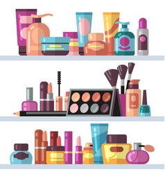 Cosmetic bottles on store shelves woman beauty vector