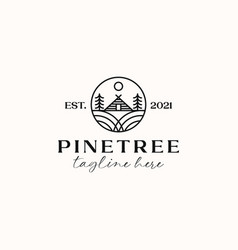 Cottage pine tree logo template isolated in white vector