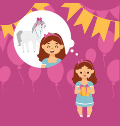 crying girl disappointed with birthday present vector image