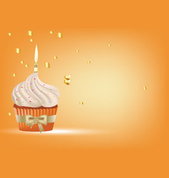 cupcake with white cream and candle vector image