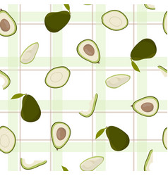 Cute avocado with white pattern green checkered vector