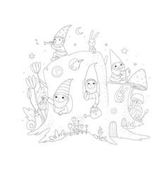 Cute cartoon gnomes in a stump house magic forest vector