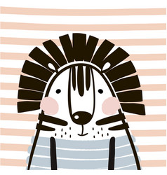 Cute cartoon tiger in scandinavian style childish vector