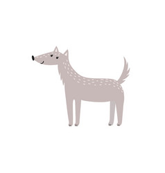 Cute gray wolf in cartoon style isolated element vector