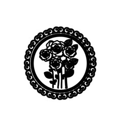 Decorative emblem with oval roses inside icon vector