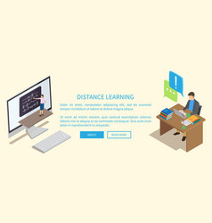 distance learning template with working people vector image