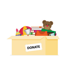 Donation box for refugees flat design vector
