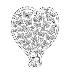 doodle coloring book page cats and butterflies vector image