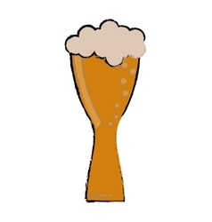 drawing glass light beer fresh bubbles vector image