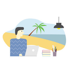 employee imagine or dreaming holiday in beach and vector image