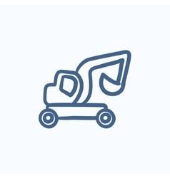 Excavator truck sketch icon vector