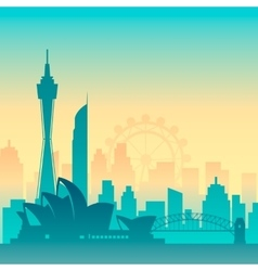 Famous city scape in color vector image