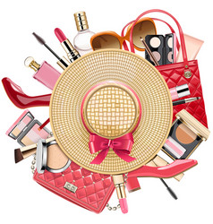 Fashion concept with wicker hat vector