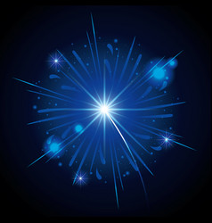 fireworks bursting in shape of blue star on black vector image
