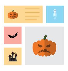 flat icon halloween set of fortress pumpkin vector image