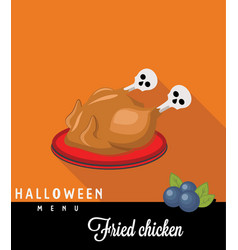 fried chicken halloween vector image