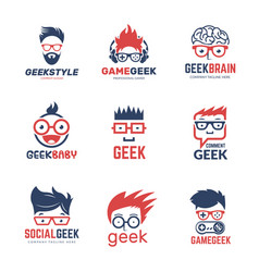 geek logo business identity of smart programmers vector image