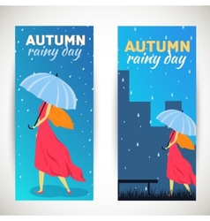 Girl with umbrella in a autumn raining beautiful vector image