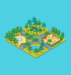 Green city park concept 3d isometric view vector