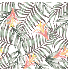 green leaves seamless flowers pattern white vector image