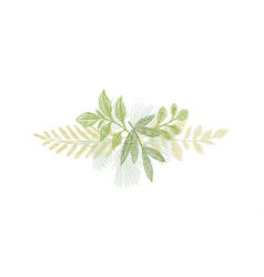 Greenery botanical hand drawn leaf decoration vector