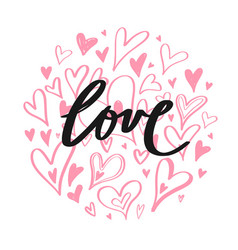 hand drawn doodle heart elements creative vector image