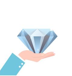 Hand holding big diamond concept rich brilliant vector