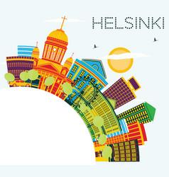 Helsinki skyline with color buildings blue sky vector