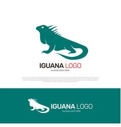 iguana reptile logo design vector image