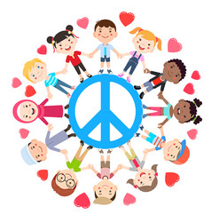 Kids love peace conceptual groups of children vector